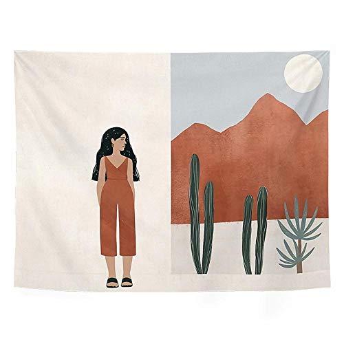 INS Tapiz Decoración de pared Boho Montaña Tapices para colgar en la pared Dormitorio Dormitorio Habitación Cactus Decoración de pared Decoración del hogar Pared 150x130cm