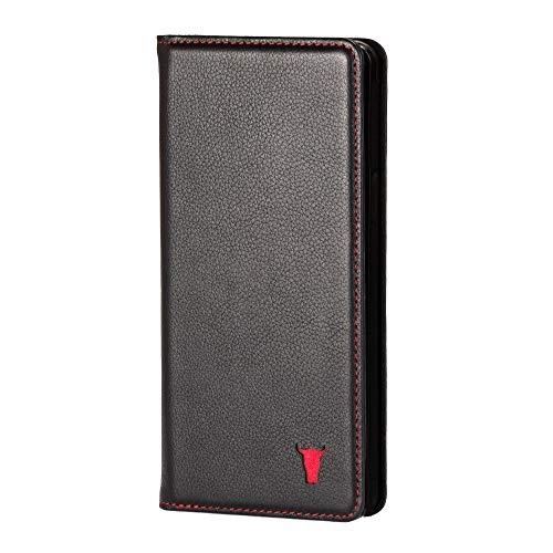 TORRO Handyhülle Kompatibel mit Samsung Galaxy S10 5G hochwertiges Leder mit [Karten Steckfach] [Horizontale Standfunktion] [strapazierfähiger Rahmen] 6.7 Zoll Ausgabe 2019 (Schwarz)