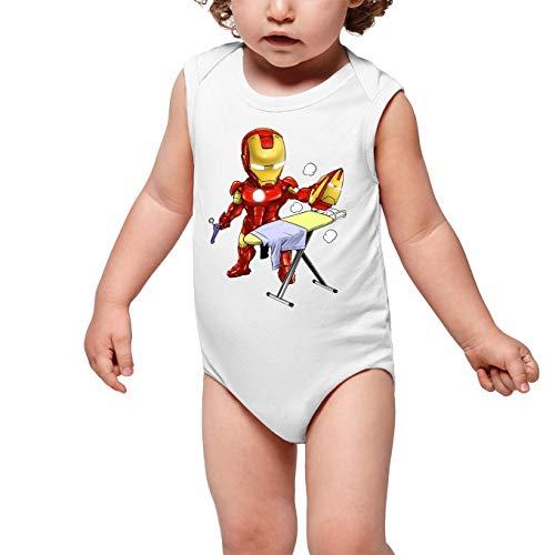 Okiwoki Body bébé sans Manches Blanc Parodie Iron Man - Tony Stark - Le Super Héros du Quotidien !! (Body bébé de qualité supérieure de Taille 3 Mois - imprimé en France)