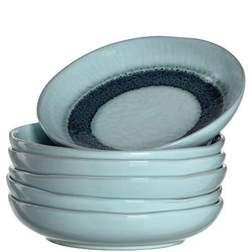 LEONARDO Teller Matera 6-er Set, 20,7 cm, 6 tiefe Keramik Teller, spülmaschinengeeignet, mit Glasur, blau, 018546