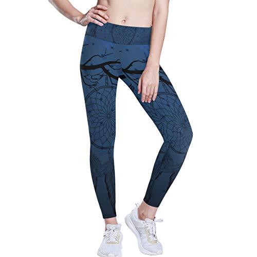 LUPINZ Traumfänger mit Krähe, Yoga-Hose, 4-Wege-Stretch, Bauchkontrolle, Workout, Laufhose - mehrfarbig - Mittel