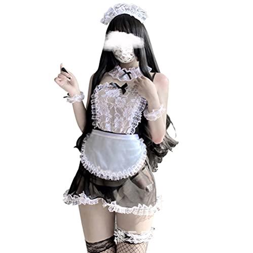 Disfraz de mucama de anime japonés clásico Lolita delantal vestido de criada Cosplay lencería sexy lindo, 1298negro, Talla única