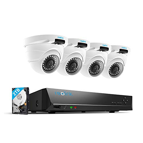 Reolink 4MP 8CH PoE Video Surveillance System, 4 x Wired Outdoor 1440P PoE IP Cameras, 5MP/4MP Supported 8 Channel NVR Security System w/ 2TB HDD for 7/24 Recording