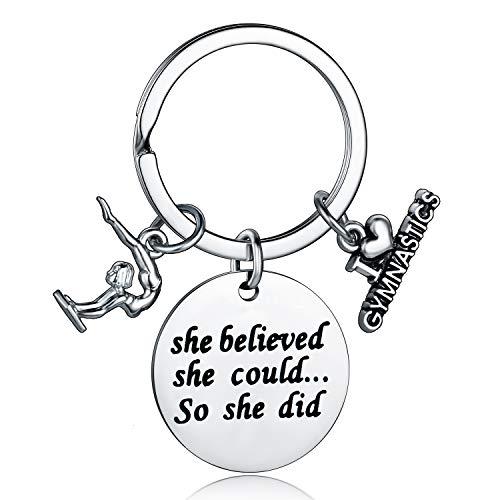 Gymnastics Keychain She Believed She Could So She Did Inspirational Gymnastics Gift for Gymnast Women Girls (Gymnastics Keychain)