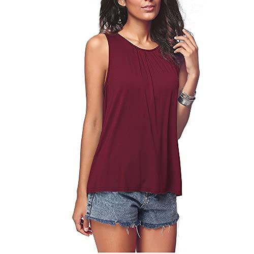 Camiseta Sin Mangas Mujer Cuello Redondo Básico Diseño Plisado Mujer Camisa Color Sólido Temperamento Casual Generoso Clásico Transpirable Elasticidad Mujer Chalecos Sueltos E-Red 4XL
