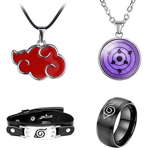 fansheng Juego de accesorios para cosplay de Naruto ninja, incluye collar de nube roja, collar y pulsera Konoha, anillo 4 en 1, joyas de anime