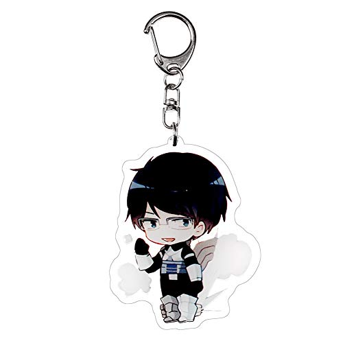 Raleighsee My Hero Academia Anime Peripheral Cute Acrylic Keychain Cartoon Transparent Double-Sided Pendant Key Chain Anime Fans Gift( Tenya Iida)