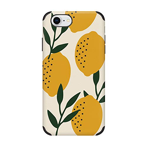 CUSTYPE iPhone 7 Case, iPhone 8 Case Print Lemon Fruits Pattern Shockproof Protective Back Shell Case for iPhone 7/8 4.7' Yellow Lemon