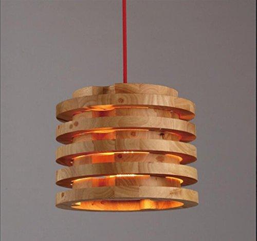 Sai Tai@LED Pendelleuchte Höhenverstellbar Küchen Deckenleuchte Wohnzimmer Designleuchte Deckenlampe Schlafzimmer Modern,braun,Holz,26cm*28cm