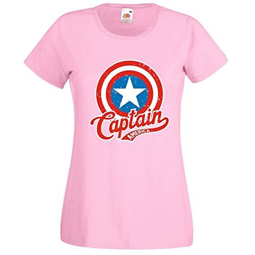 Donna T-Shirt Maglietta Motivo America Captain - Rosa XXL