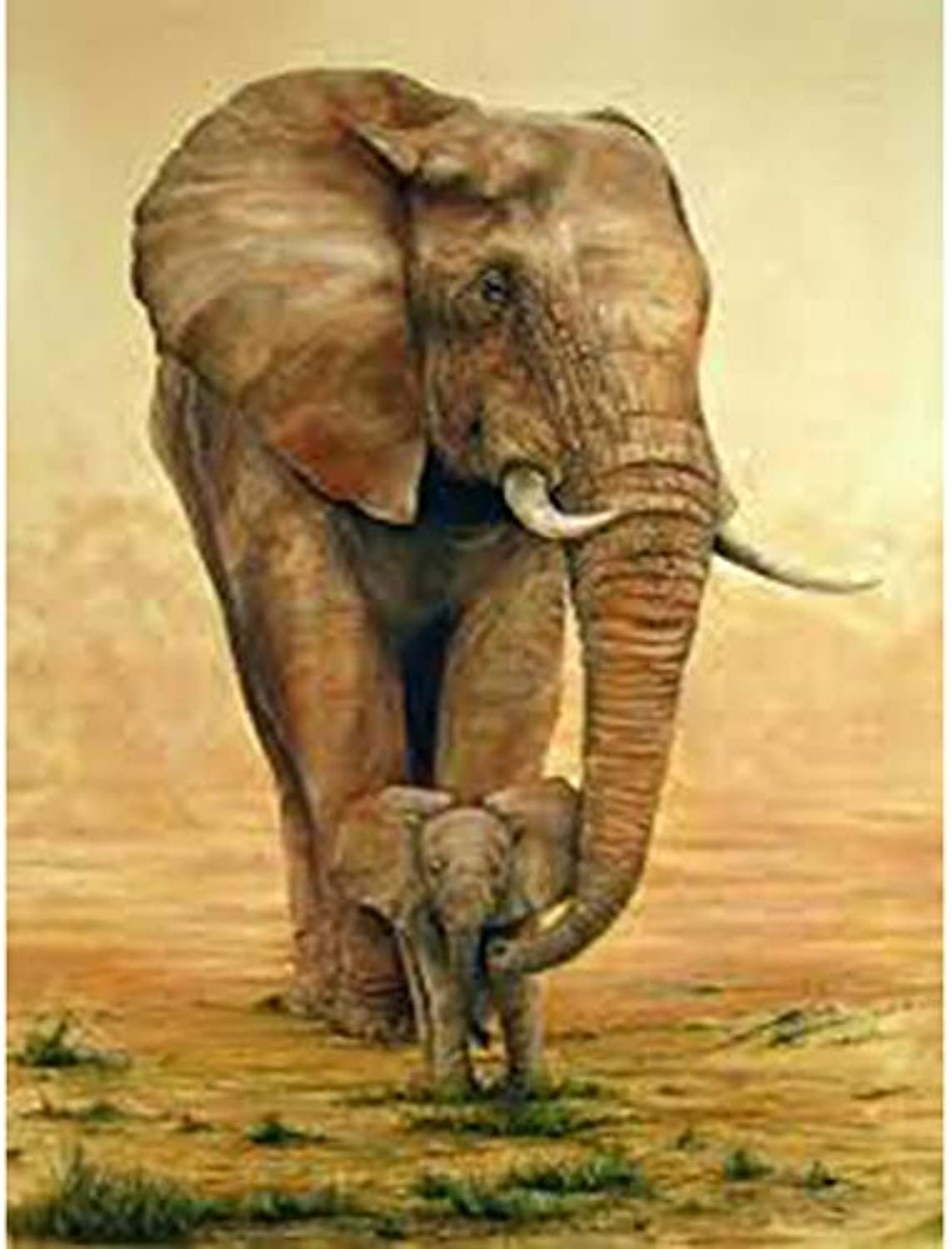 DIY Oil Paint by Number Kit for Adults Beginner 16x20 Inch - Animals Elephants,Drawing with Brushes Living Room Decor Decorations Gifts (Framed)