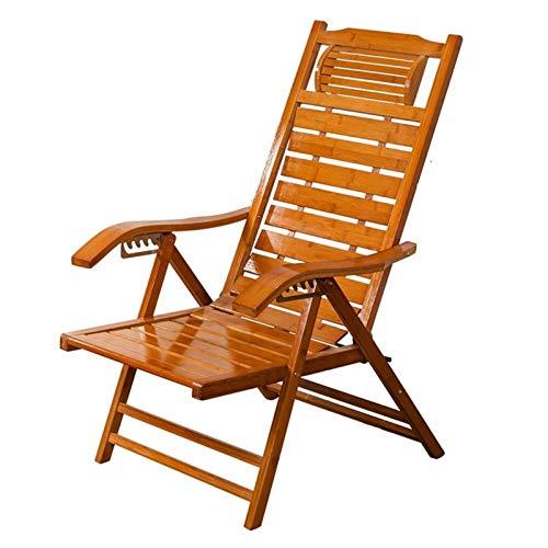 NGDDGS Sillas de bambú Chaise LoungesSummer Plegable Sillón Viejo Hombre Sillas de Cubierta Casual for Patio Oficina de Playa Piscina al Aire Libre Jardín Patio Balcón de Carga Ajustable 6 Puestos