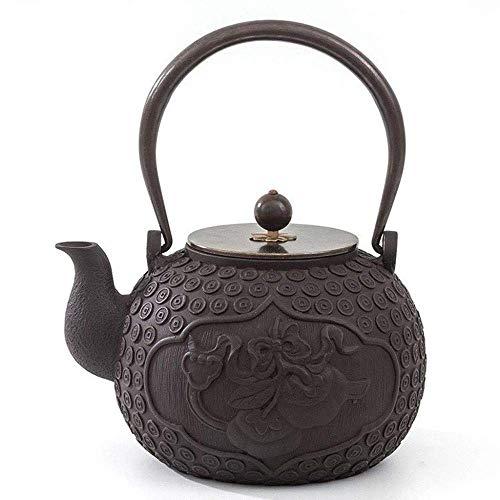 Riyyow 1.4L Tetera de Hierro Fundido de Cobre Patrón de Dinero Patrón de Tetera de hervidor de té sin Recubrimiento Oxidación Interna de Pared Anti óxido fácil Limpieza (Color : Brown)