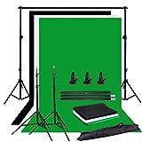 Abeststudio Photo Studio調整可能な背景サポートスタンドキット1.6 x 3m黒/白/緑背景スクリーン+ 6.5ft x 6.5ft / 2m x 2mバックグラウンドサポートシステム+ 3つのクランプ+キャリーバッグ