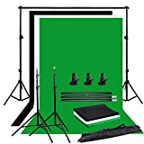 YISITONG Photo Studio Portable Adjustable Background Support Stand Kit Set for Photography - 3m x 1.6m Black White and Green Photography Backdrops + 3 Clamps + Free Carrying Bag