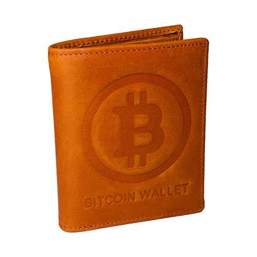 Bitcoin Wallet in vera pelle con logo 3D Bitcoin - Portafoglio sottile con...