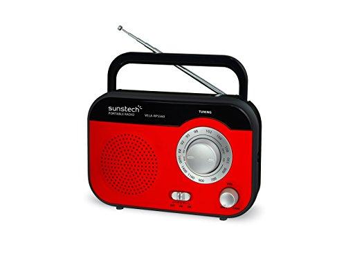 Sunstech RPS560, Radio de Sobremesa AM/FM (Altavoz, 800 mW RMS), Tamaño Único, Rojo