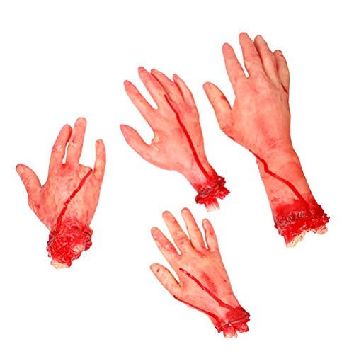 WINOMO Halloween Scary Broken Hand Streich Requisiten Chopped Human Parts Set Terror Requisiten für Haunted House 4pcs