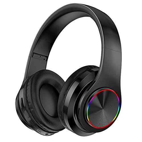 XJST Auriculares Bluetooth sobre Oreja, Auriculares Estéreo Inalámbricos con Auriculares Inalámbricos Y con Cable, para Uso Prolongado, con Luz,Negro