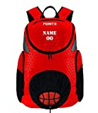 POINT 3 Basketball Road Trip 2.0 Backpack. Basketball Backpack with Drawstring Ball Storage. Built in Compartments for Shoes, Water & Clothes (Custom, Red)