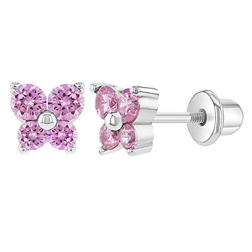 In Season Jewelry - Kinder Säugling - Schmetterling Schraubverschluss Ohrringe Rhodiniert Rosa Kristall 5mm