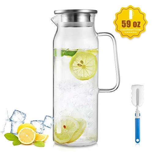 ZDZDZ jarra de agua de cristal, jarra de agua de té de hielo de cristal con tapa y mango de acero inoxidable, 1700 ml