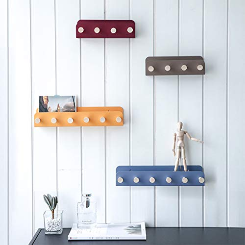 Creative Entryway Hanging Coat Rack with Hooks Metal Hallway Shelf with Hooks Wall Mounted Floating Shelf for Bathroom, Living Room, Bedroom, Decoration (Blue, Small (8.58 x 1.97 x2.75 inch))