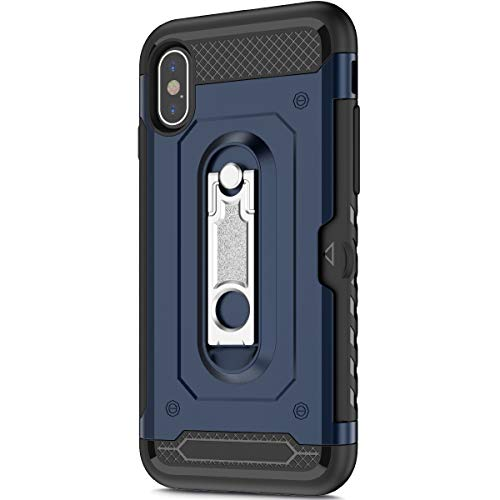 KunyFond Support Mobile Carte Credit Deux en un Gel Housse Étui Armure 2 en 1 Souple Flexible Mince PC+TPU Anti-chute Card Slot Etui Bumper Case Cover Couverture Coque Compatible iPhone X/XS-Bleu