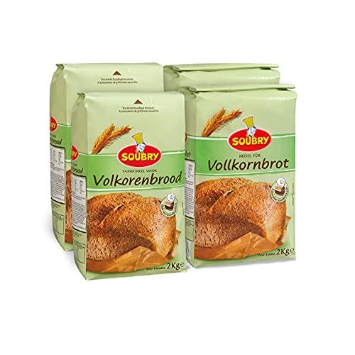 SOUBRY Reichhaltige Brotbackmischung zum Backen für Vollkornbrot und Brot mit Backofen oder Brotbackautomat, VorteilsPack Brotmischungen aus 100% Vollkorn im 4er Set (4 x 2 Kg)