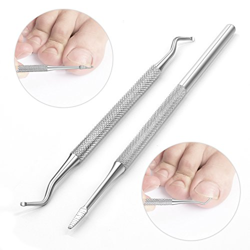 Ingrown Toenail File and Spoon Nail Cleaner Set Stainless Steel Toe Cleaner Tool for Salon Home Use Nail Lifter Double Side Manicure Nail File Kit Foot Care