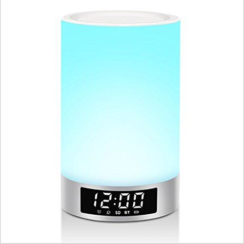 Kwdzlighting LED-touch-sensor, dimbaar, RGB-kleurverandering, nachtlampje, met draadloze luidspreker, draagbaar, MP3-speler, handsfree functie, bluetooth-luidspreker, wit