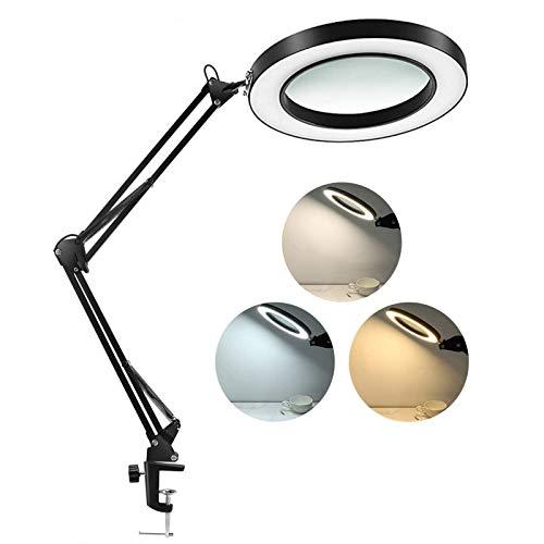 Lámpara de Escritorio Lupa LED 5X con Abrazadera, Brazo Giratorio Ajustable, 3 Niveles de Brillo, Lámpara de Aumento para Banco de Lectura o Salón de Belleza