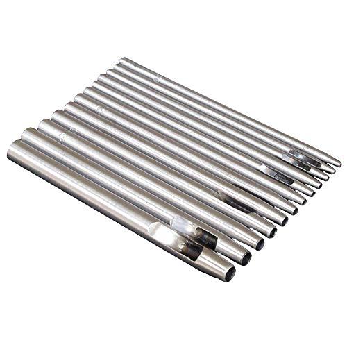 Nsiwem Locheisen Leder satz 12 Stück Runde Stahl Hohl Punch Set 0,5 mm bis 8 mm Locher Cutter Leder Handwerk Hohl Locher Werkzeuge für Leder Uhrenarmband Stoff Schuh