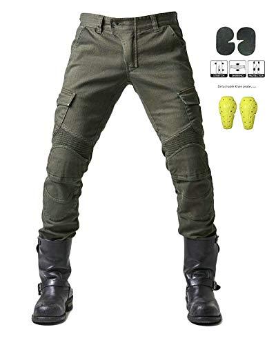 GELing Sportliche Motorrad Hose Mit Protektoren Motorradhose mit Oberschenkeltaschen ,Grün,XL