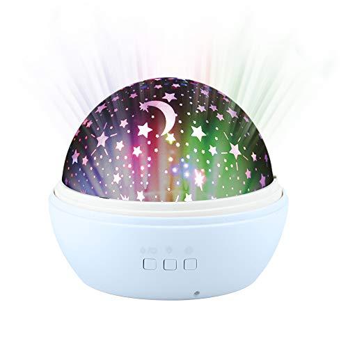 Lámpara de Estrellas para Niños con Domo Giratorio Intercambiable (Estrellas y Océano), Luces LED de Colores, 8 Modos de Iluminación, Funciona con Baterías o Cable USB, Luz de Noche. Azul