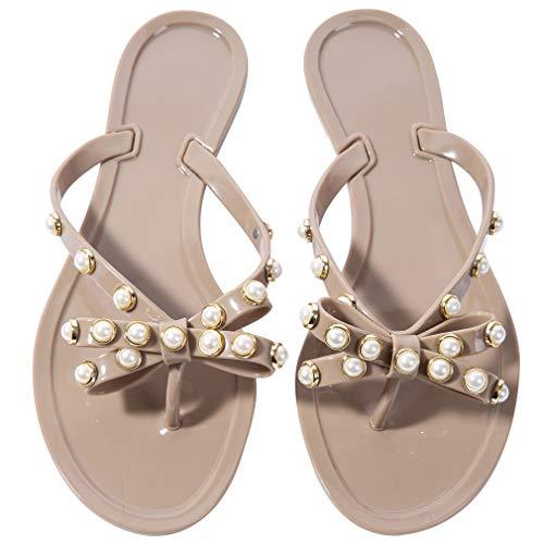 N.N.G Flip-Flops für Damen, mit Perlen, durchsichtige Schleife, Sandalen, Strand, flach, Kristall,...