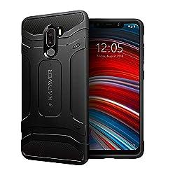KAPAVER Xiaomi Poco F1 Phone Back Cover Case Drop Tested Shock Proof Carbon Fiber Armor Black