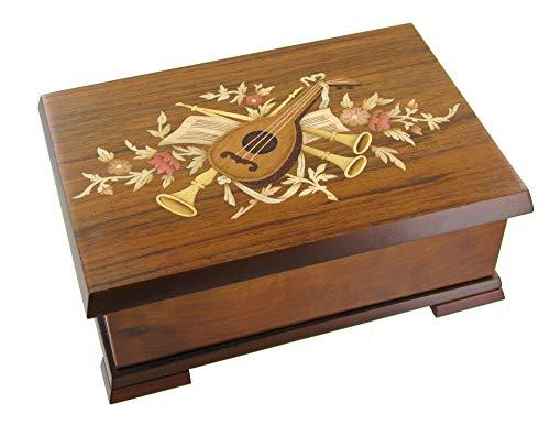 Caja de música para joyas / joyero musical de madera con bailarina y marquetería instrumentos de música - El lago de los cisnes (P. I. Chaikovski)