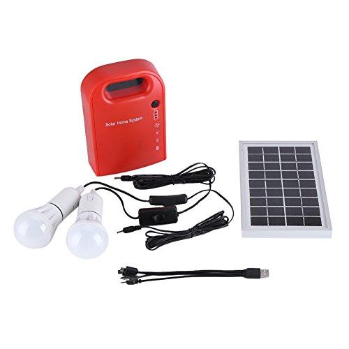 Kit de iluminación de energía solar, 12V portátil hogar iluminación exterior DC paneles solares DC sistema de generación de energía de carga con 4 en 1 cable de carga USB y blanco LED bombilla