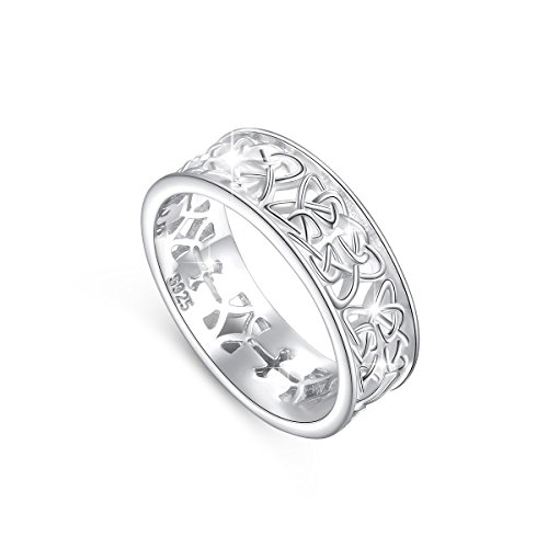 DAOCHONG Nickel-Free 925 Sterling Silver Irish Love Trinity Woven Celtic Knot Band Ring for Women, Size 5 6 7 8 9 10 (5)
