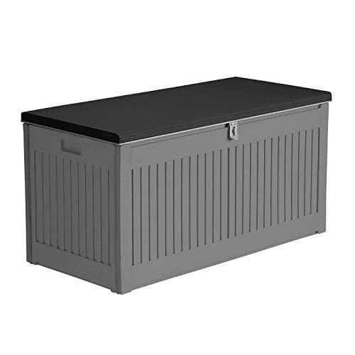 AIRWAVE Outdoor Plastic Garden Storage Box 72Gal/270L - Plastic Storage Bench (109 x 52 x 55cm)
