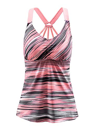 EVALESS Womens V Neck Swimsuits Printed Slimming Tankini Tops for UV Protection, XX-Large, Pink