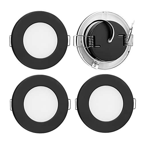 4er Pack LED 12V Einbauleuchten Einbaustrahler, 2.5W Ultra Flach Einbauspot Möbelleuchte 3000K Spot Leuchte PC-Material für Küche Badezimmer Möbel Wohnmobil Boot, 215Lumen(Schwarz, Warm Weiß)