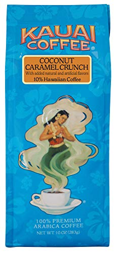Kauai Hawaiian Ground Coffee, Coconut Caramel Crunch Flavor (10 oz Bag) - 100% Premium Gourmet Arabica Coffee from Hawaii