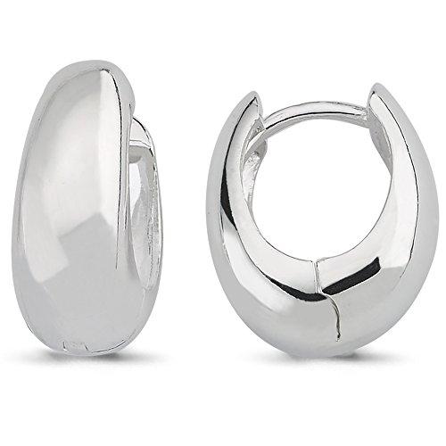 Vinani Klapp-Creolen oval bauchig glänzend Sterling Silber 925 Ohrringe 2CKE