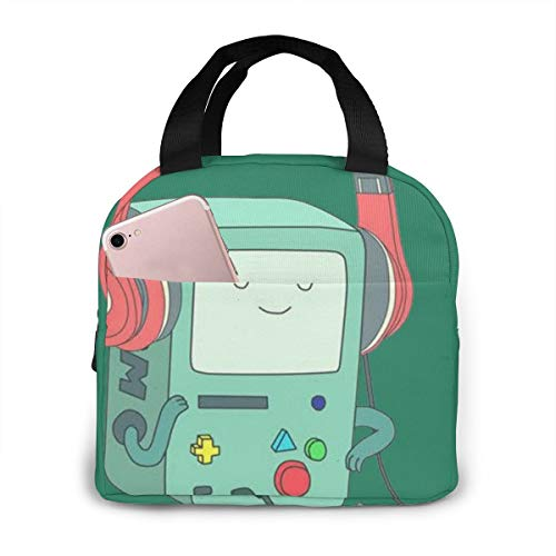 Laki-co Waterproof Insulated Lunch Bag, Adventure Time BMO Reusable Lunch Tote Thermal Lunch Box with Pocket Tote Bag for School Work Outdoor Travel