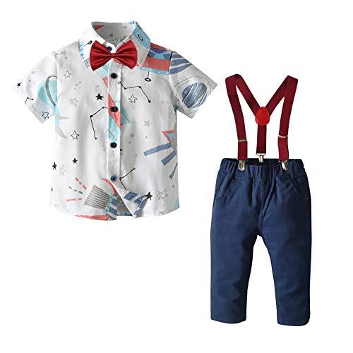 IWEMEK - Conjunto de ropa para niños y niñas, diseño de lazo, camisa + tirantes, pantalones cortos, ropa de verano para fiesta de boda o cumpleaños, #B: blanco, 6-7 años
