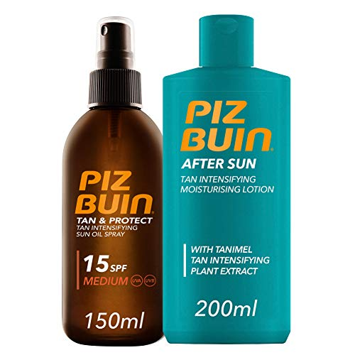 Piz Buin, Tan & Protect Aceite en Spray Acelerador del Bronceado, SPF15, Protección Media,150ml + After Sun Loción Intensificadora del bronceado,200ml