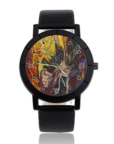 Guitarra personalizada reloj personalizado casual correa de cuero negro reloj de pulsera para hombres mujeres unisex relojes
