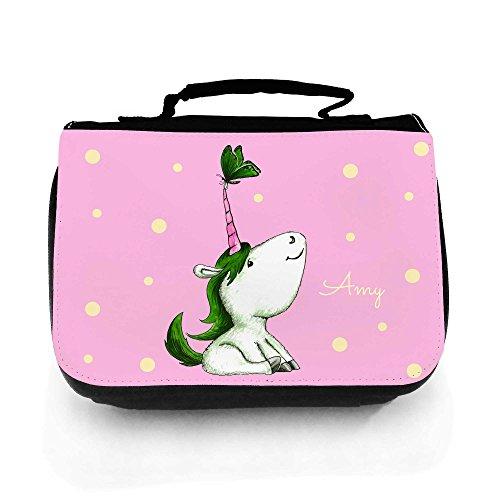 ilka parey wandtattoo-welt® Waschtasche Waschbeutel Kulturbeutel Kosmetiktasche Reisewaschtasche Einhorn pink grün mit Schmetterling und Wunschnamen wt149